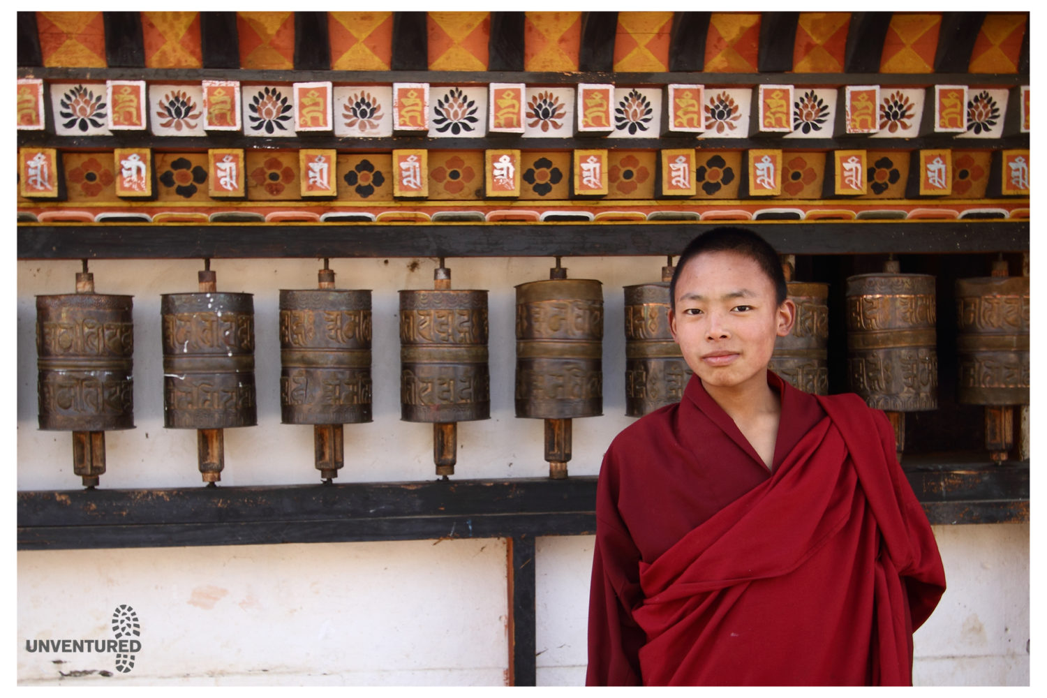 Bhutan Hike Bike Tour - Monk & Prayer Wheel